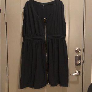 Forever21+ Sleeveless Gold Zippered Dress Black 3X